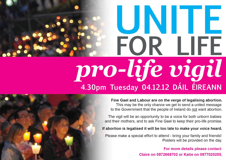 30.11.2012: Unite for Life pro-life Vigil – 4th December 2012