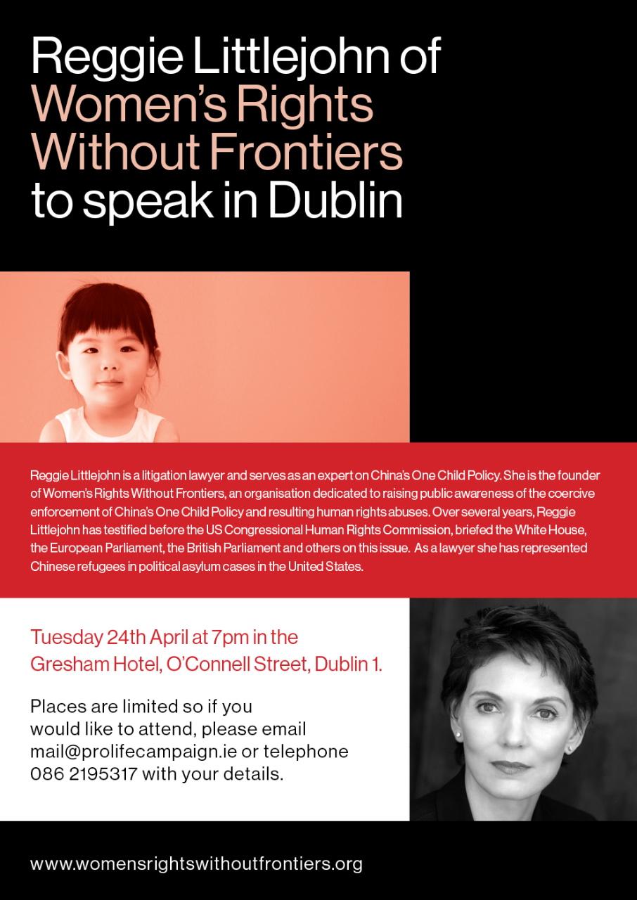 13.04.2012: Reggie Littlejohn of Women's Rights Without Frontiers to speak in Dublin