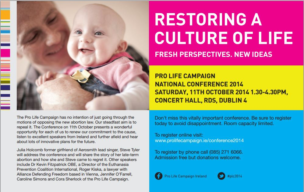 09.2014: Register today for Pro Life Campaign National Conference 2014