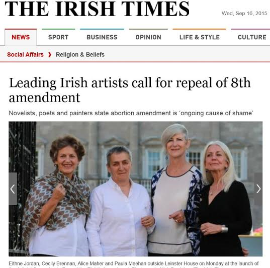 15.09.2015: PLC comment on the statement from Irish artists calling for repeal of the 8th Amendment