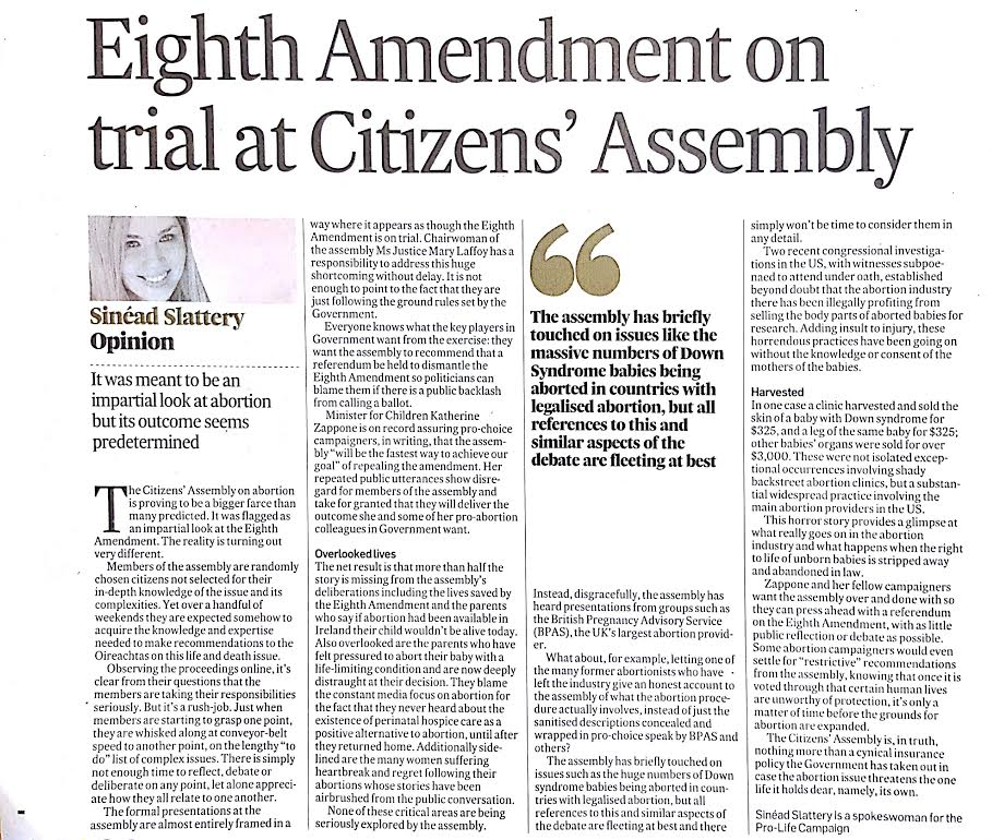 "08.02.2017: ""Eighth Amendment on trial at Citizens' Assembly"" – Sinead Slattery"