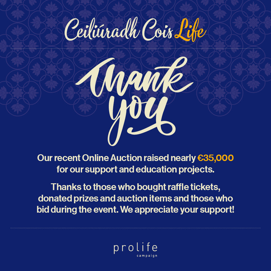 29.10.2020 Thank you! – Ceiliúradh Cois Life online auction raises €35,000 for pro-life education and support!